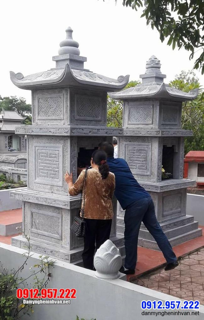 xây mộ tháp đá tại Bến Tre