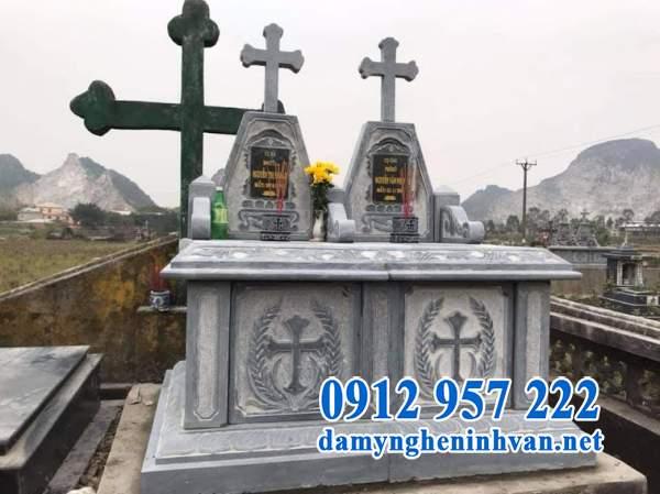 Mẫu mộ đôi công giáo bằng đá đẹp