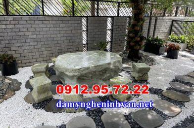 Lăp đặt bàn ghế đá tự nhiên sân vườn biệt thự tại Nha Trang